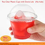 GOLDEN APPLE, 9oz. Clear Plastic Cups with no holes Dome lids (30 Sets) …