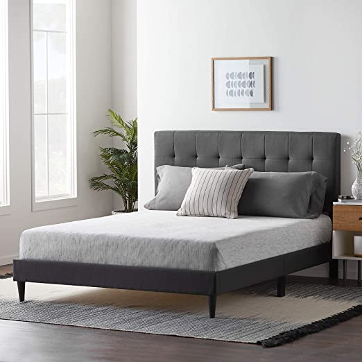 Amazon Com Lucid Luckch01ub Upholstered Bed With Square Tufted