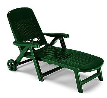 ARREDinITALY chiudibile – Tumbona con Ruedas, de Tecnopolimero Verde Bosque – con Respaldo Ajustable –