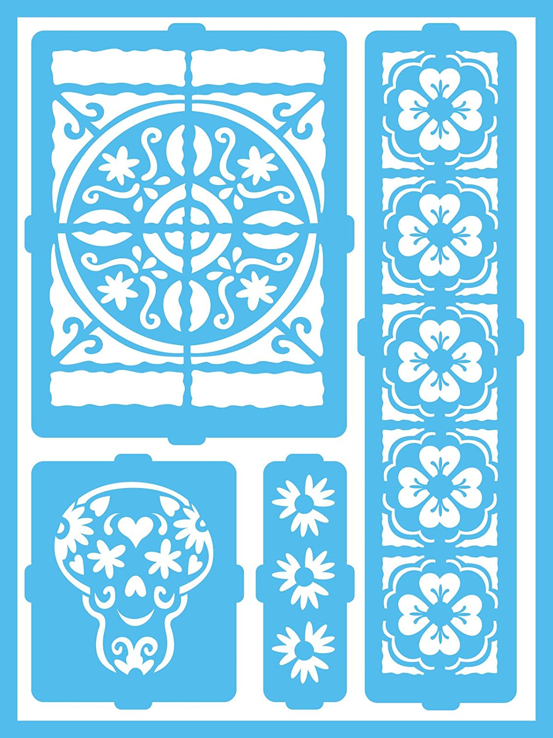 DecoArt Patio Paint Self-Adhesive Stencils Latin Inspiration 6 by 8-Inch