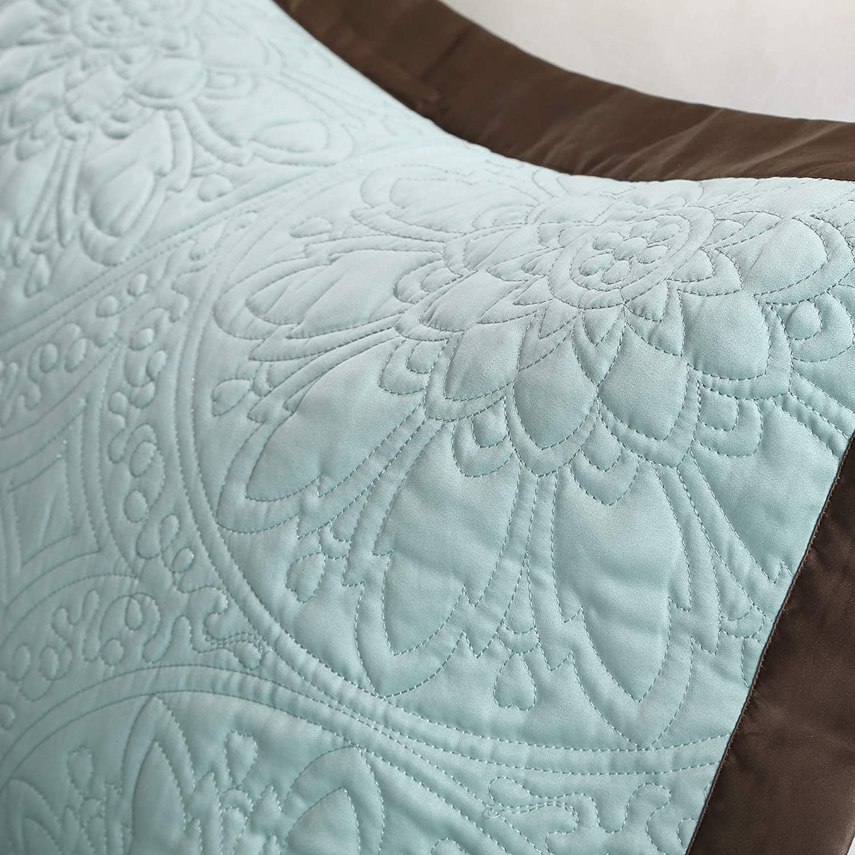 9 Piece 90x90 Queen Matching Bed Skirt Decorative Pillows Madison Park Cozy Comforter Set Casual Modern Design All Season Blue