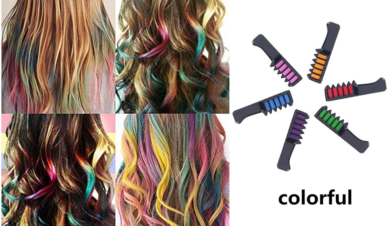 Color del cabello peine de tiza, Morbuy Creyones personales desechables de los ventiladores del partido de 6PCS DIY para la herramienta que teñe del pelo de ...