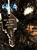 Personalised Christmas Tree Decoration - Xmas Bauble Engraved Gift - First Christmas in Your New Home - L1123