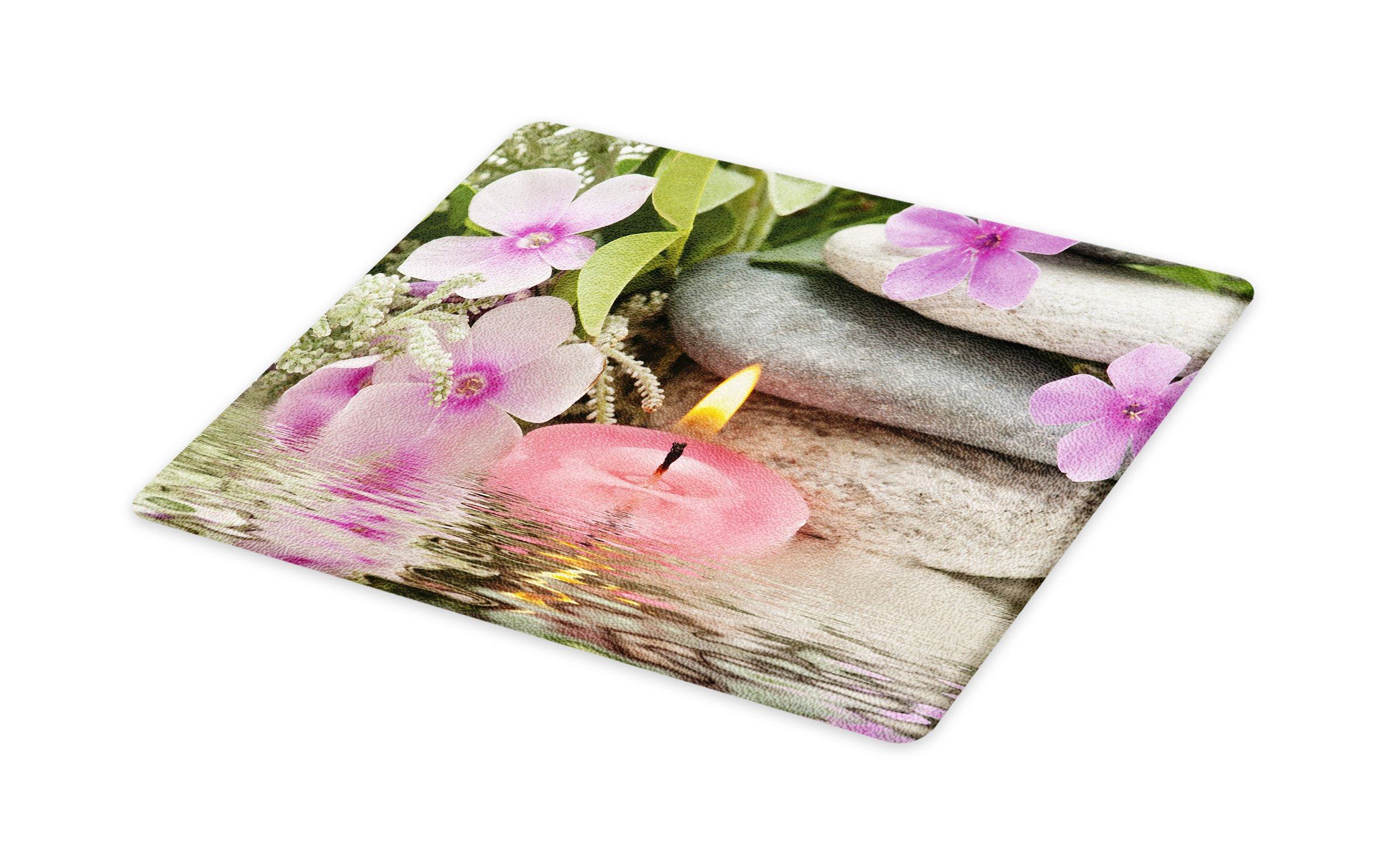 Lunarable Spa Cutting Board, Heaven on The Earth Peaceful Theme Violets Candle on a Water and Stones, Decorative Tempered Glass Cutting and Serving Board, Small Size, Purple Grey and Green