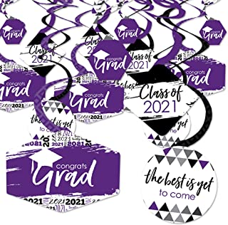 product image for Big Dot of Happiness Purple Grad - Best is Yet to Come - 2021 Purple Graduation Party Hanging Decor - Party Decoration Swirls - Set of 40