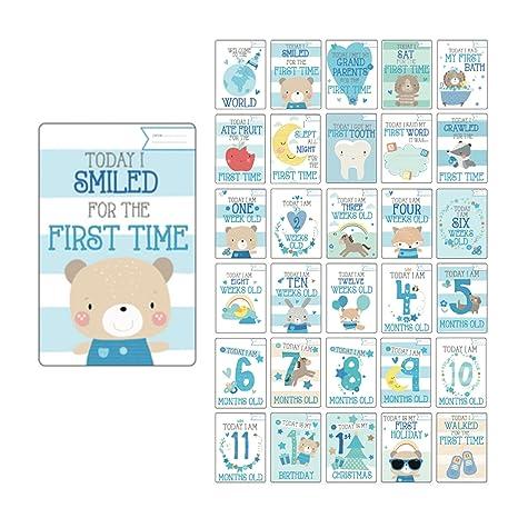 Tarjetas de hitos del bebé (en inglés), regalo para baby ...