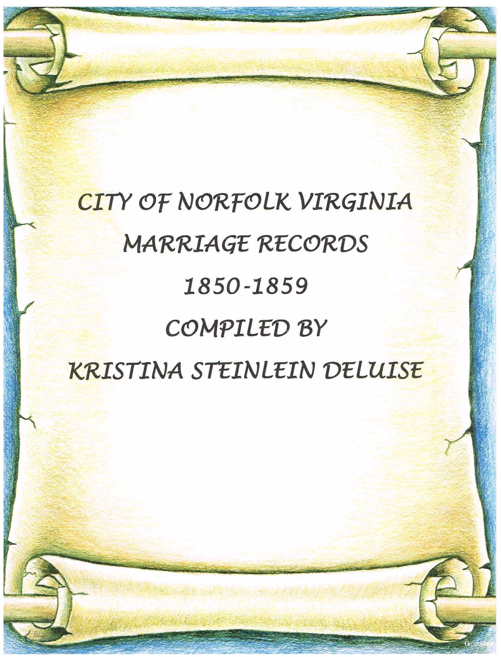 Norfolk marriage license records