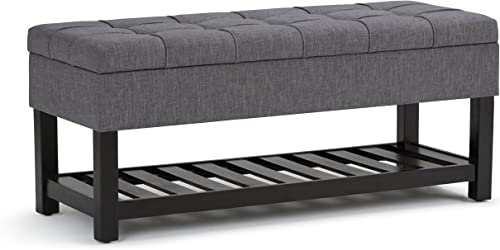 SIMPLIHOME Saxon 44 inch Wide Rectangle Storage Ottoman Bench