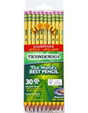 Ticonderoga Pencils, Wood-Cased Graphite #2 HB Soft, Pre-Sharpened, Yellow, 30-Pack (13830)