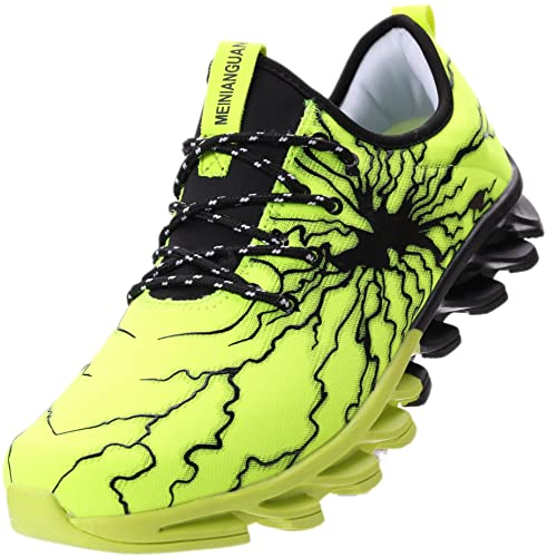 BRONAX Zapatos para Correr en Montaña y Asfalto Aire Libre y Deportes Zapatillas de Running Padel para Hombre Verde Negro 46