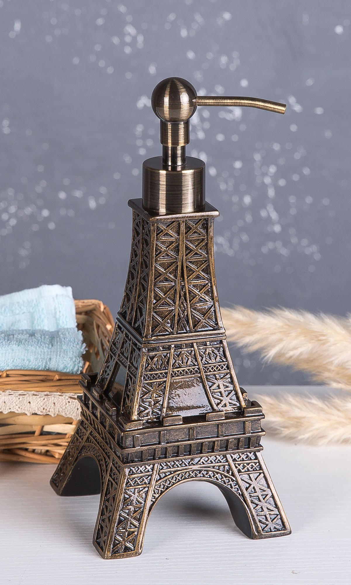 SILOKO 3D Eiffel Tower Metal Pump Soap Dispenser for Kitchen or Bathroom Bronze by SILOKO (Image #6)