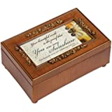 You Are My Sunshine Rich Walnut Finish Jewelry Music Box - Plays Song You are my Sunshine
