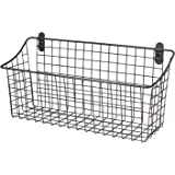 "Spectrum Diversified Vintage Wall Mount Storage Basket, 15"" x 5"" x 7"", Industrial Gray"