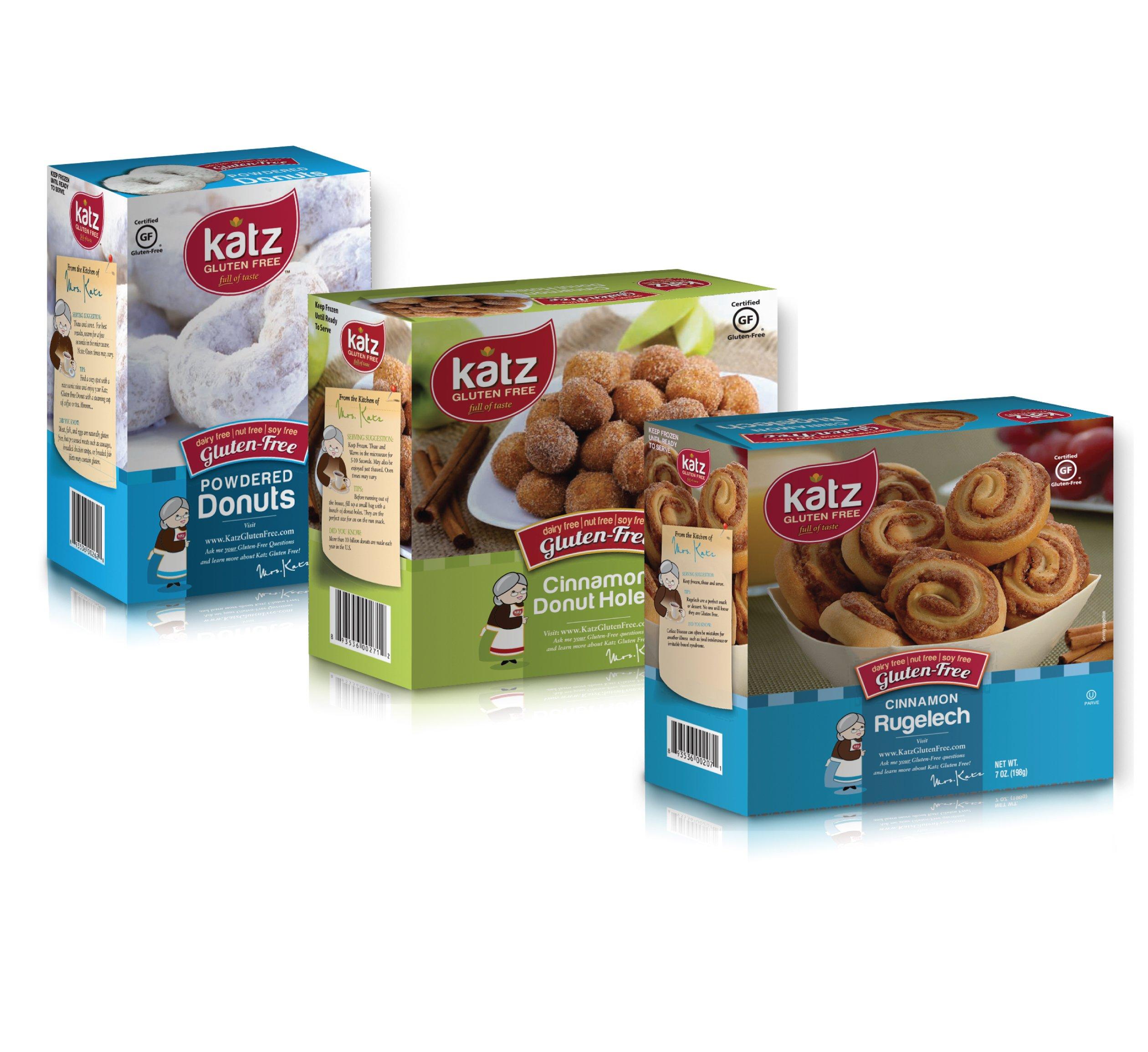 Katz Gluten Free Variety Pack | 1 Cinnamon Rugelach, 1 Powdered Donuts, 1 Cinnamon Donut Holes | Dairy, Nut, Soy and Gluten Free | Kosher (1 Pack of each) by Katz Gluten Free