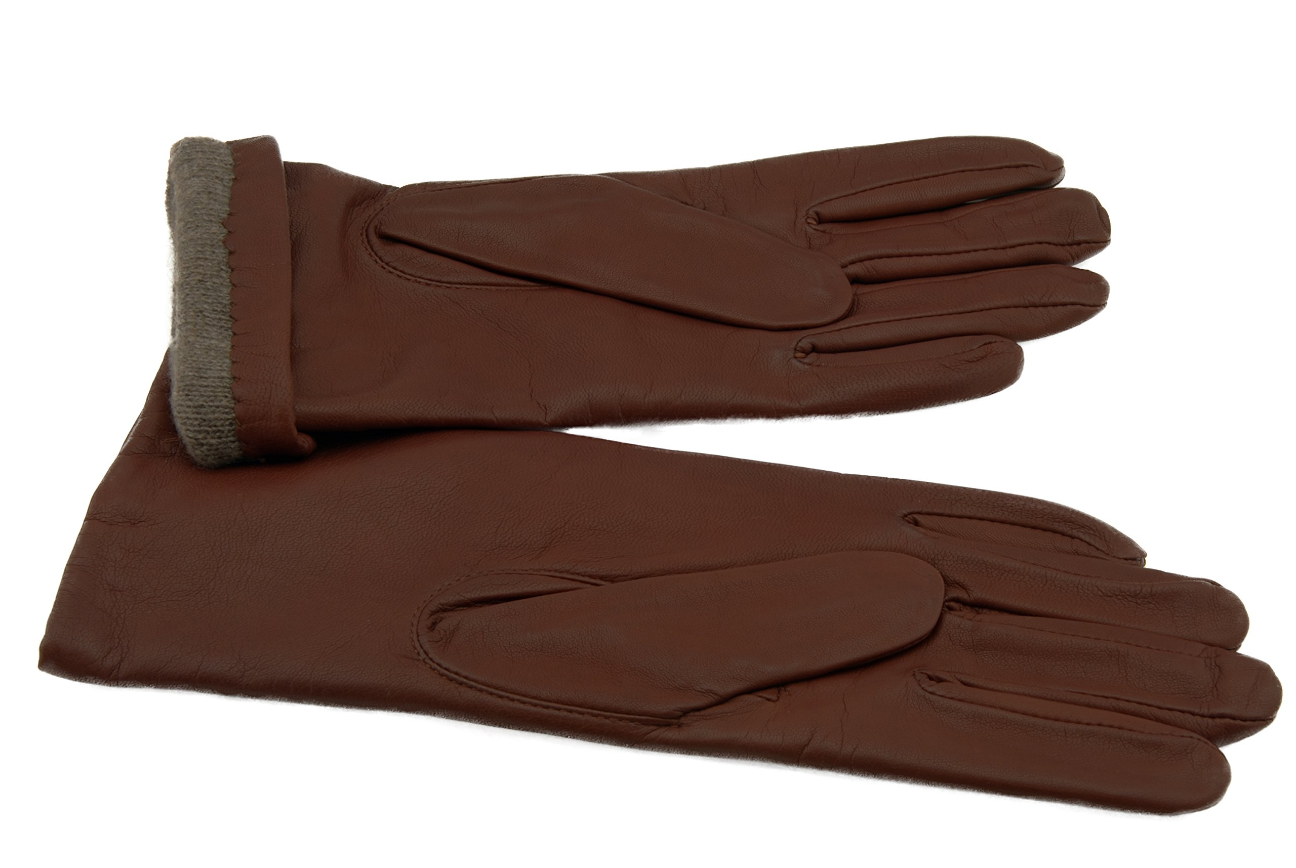 GRANDOE Women's MELODY Sheepskin Leather Glove, Warm Cashmere Lined 3 btn length (Tan, X-Large)