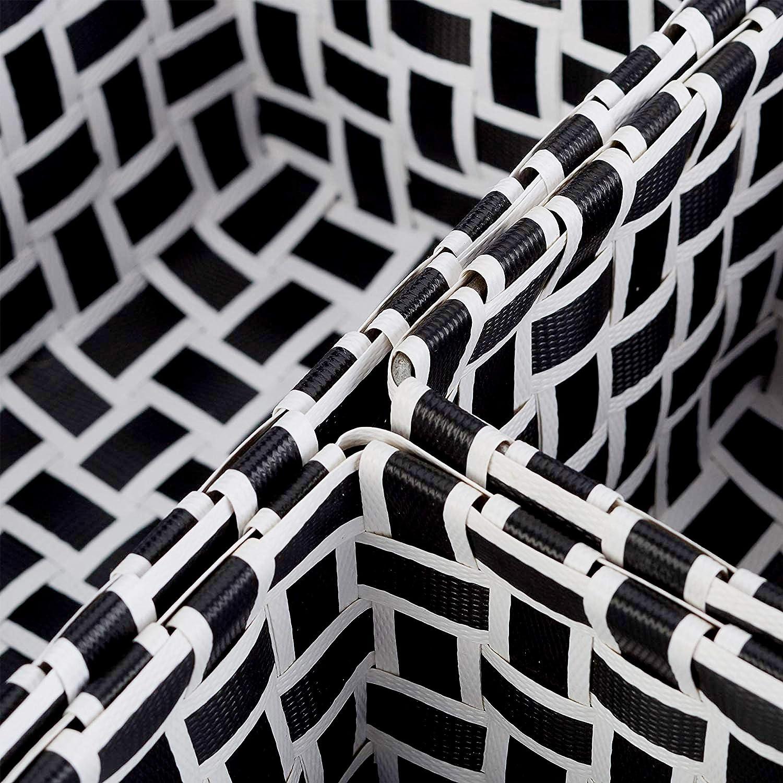 per Il Bagno Bianco-Grigio Set da 6 Relaxdays Cestini Portaoggetti Universali in Plastica Impilabili Intrecciati