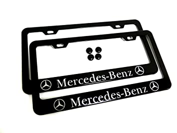 2 pieces mercedes benz black metal license plate frame tag holder and screw cap covers
