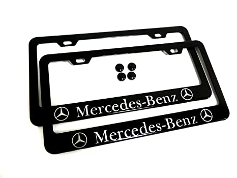 Amazon.com: 2 Pieces Mercedes-Benz Black Metal License Plate Frame ...