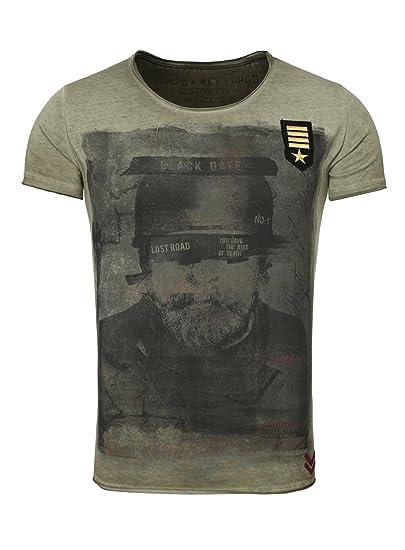 Key Largo Herren T Shirt Chapter Vintage Print mit Patches