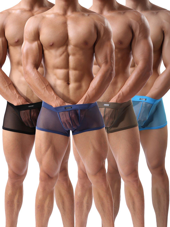 Men's Boxers Sexy Underwear Mesh Breathable Gay Low Rise Boxer Briefs(36Hei,XL)