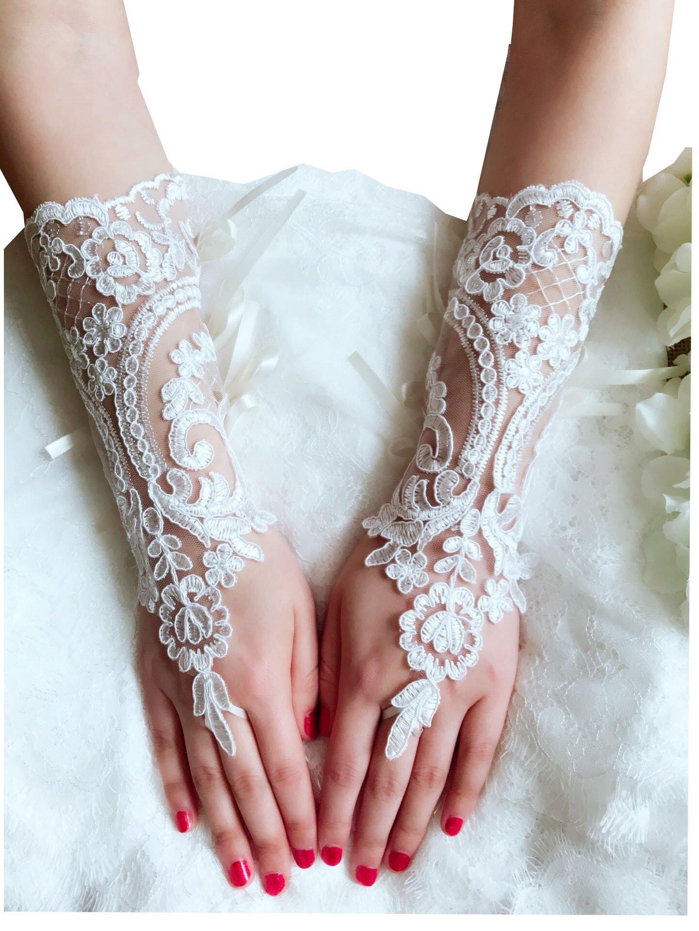 YuRong Elegance Wedding Gloves Bridal Gloves Lace Gloves Fingerless A03 (Ivory)