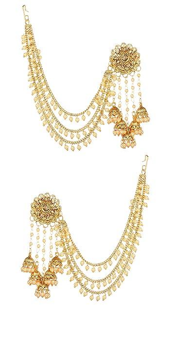 47e15ac65 Bindhani Fashion Bollywood Jewellery Traditional Ethnic Bridal Bride Wedding  Bridesmaid Gold Plated Kundan Pearl Drop Jhumka Jhumki Head chain Indian ...