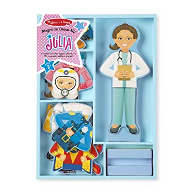 Melissa & Doug Julia Magnetic Dress-Up Wooden Doll Pretend Play Set (25+ pcs): Toys & Games