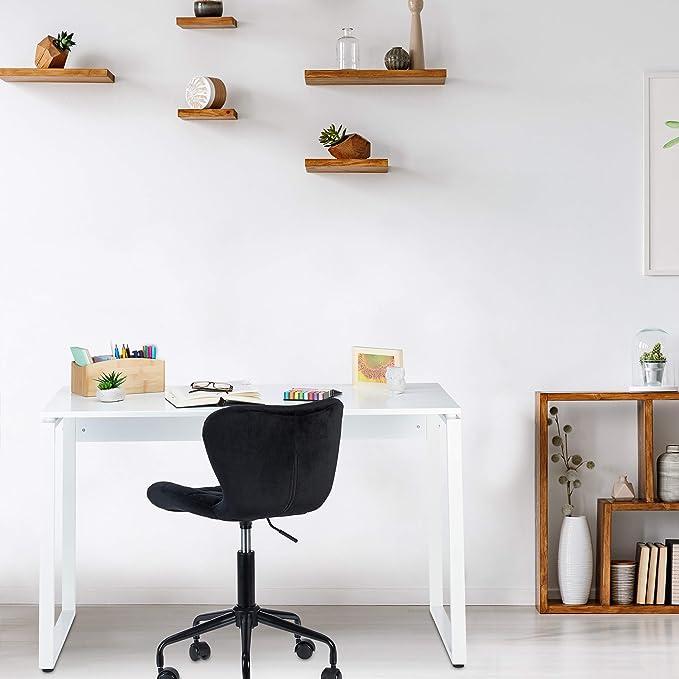 Scrivania Home Office Legno MDF Antiscivolo Postazione Lavoro e PC Relaxdays Tavolo da Ufficio 76x120x60 cm Cameretta Bianco