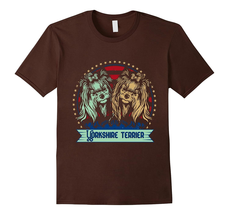 Yorkshire Terrier Dog Retro Style American Flag T-Shirt-TH