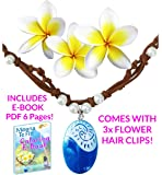 MOANA NECKLACE Disney Heart of Te Fiti Costume Accessories Movie Gift For Girls | INCLUDES 3 FLOWER HAIR CLIPS & E-BOOK | Leather, Pearl, Children Kids Toys Princess Birthday Party Favors Cosplay
