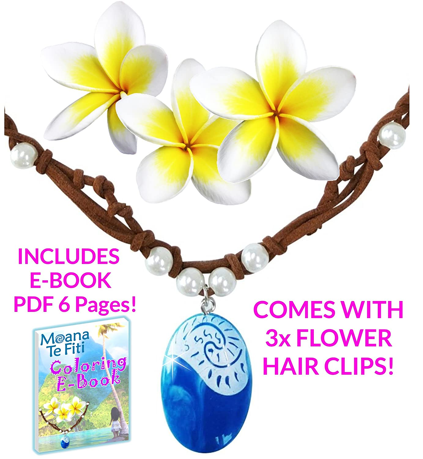 Moana Necklace Disney Heart Of Te Fiti Costume Accessories Movie Gift For Girls | Includes 3 Flower Hair Clips & E Book | Leather, Pearl, Children Kids Toys Princess Birthday Party Favors Cosplay by Princess Charms
