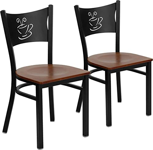 Flash Furniture 2 Pk. HERCULES Series Black Coffee Back Metal Restaurant Chair