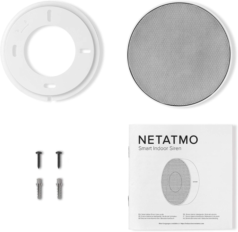 110 dB sin suscripci/ón bater/ías o Cable NIS01-UK Sirena Inteligente para Interiores inal/ámbrica Netatmo Auto Arm /& Disarm