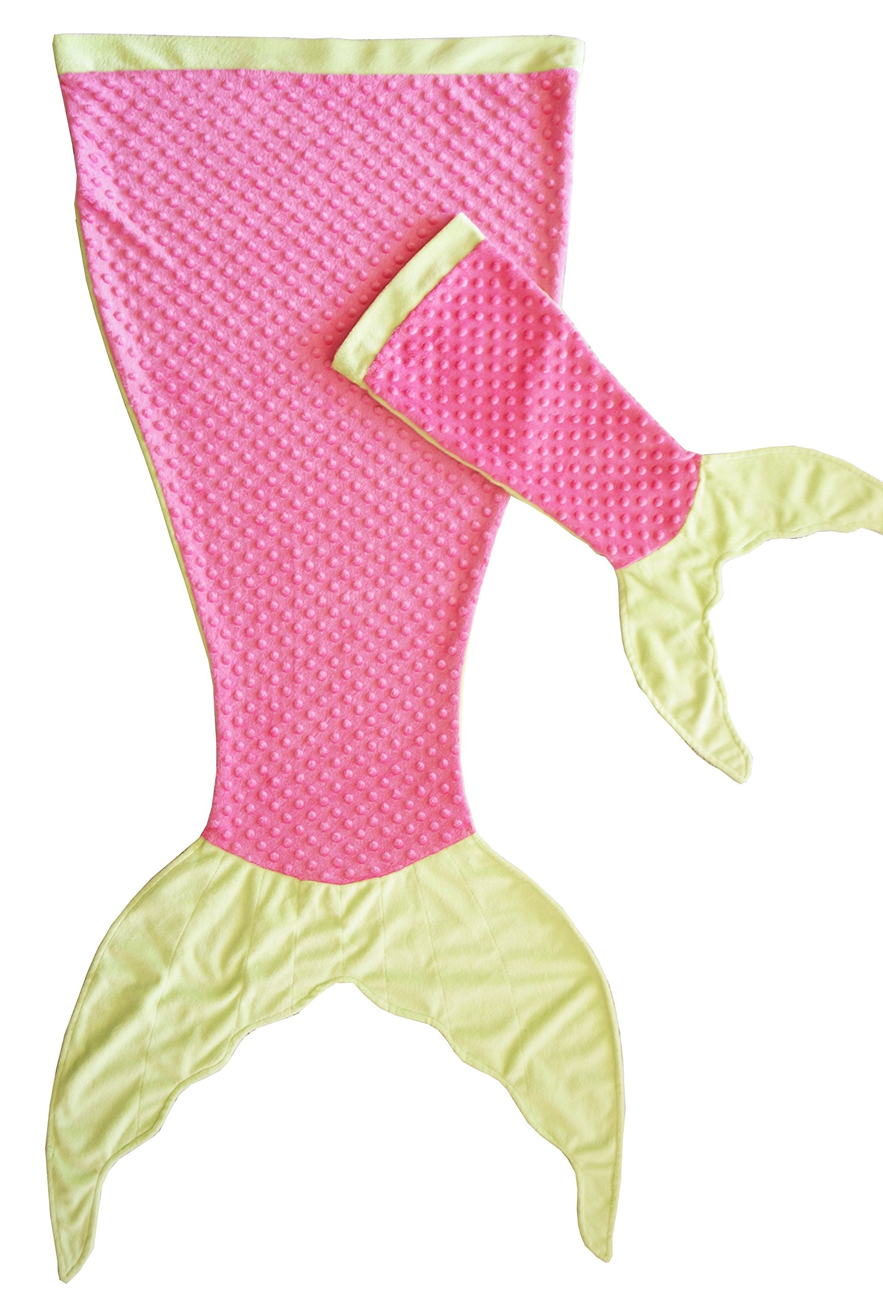PoshPeanut Mermaid Blanket Softest Minky Comfy Cozy Blankie for Kids Ages 3-13 with FREE Toy Doll Blanket Included (Pink / Green)