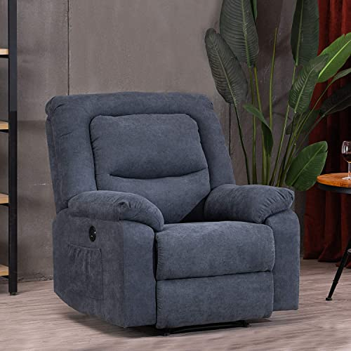 Electric Recliner Chairs Sofa with USB Charge Port for Adults, Power Recliner Chair with Heat and Massage, Fabric Recliner Chair for Bedroom, Living Room and Home Theater Seating Blue