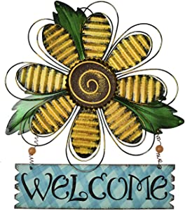 K KILIPES Vintage Flower Metal Welcome Sign Front Door Decor Hanging Wall Sign Indoor Outdoor Garden Hanging Sign 15.75x12.75 (Yellow Flower)