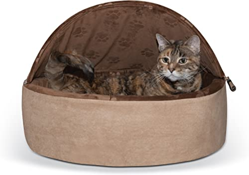 K H Manufacturing Self-Warming Kitty Hooded Bed, Large 20 , Chocolate Tan