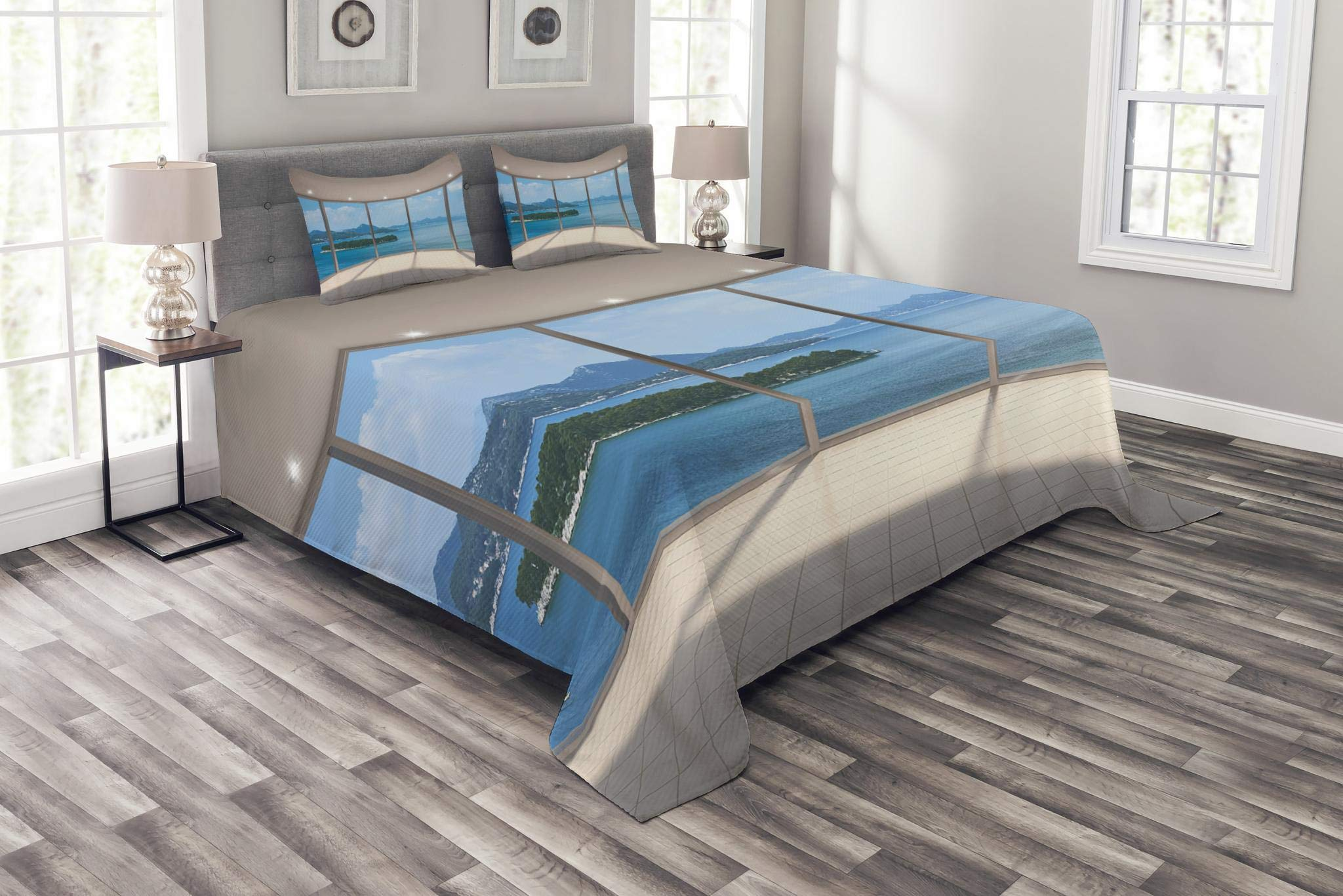 Lunarable Modern Bedspread Set King Size, Empty Modern Lounge Area with Large Window and Sea View Contemporary Architecture, Decorative Quilted 3 Piece Coverlet Set with 2 Pillow Shams, Pearl Blue