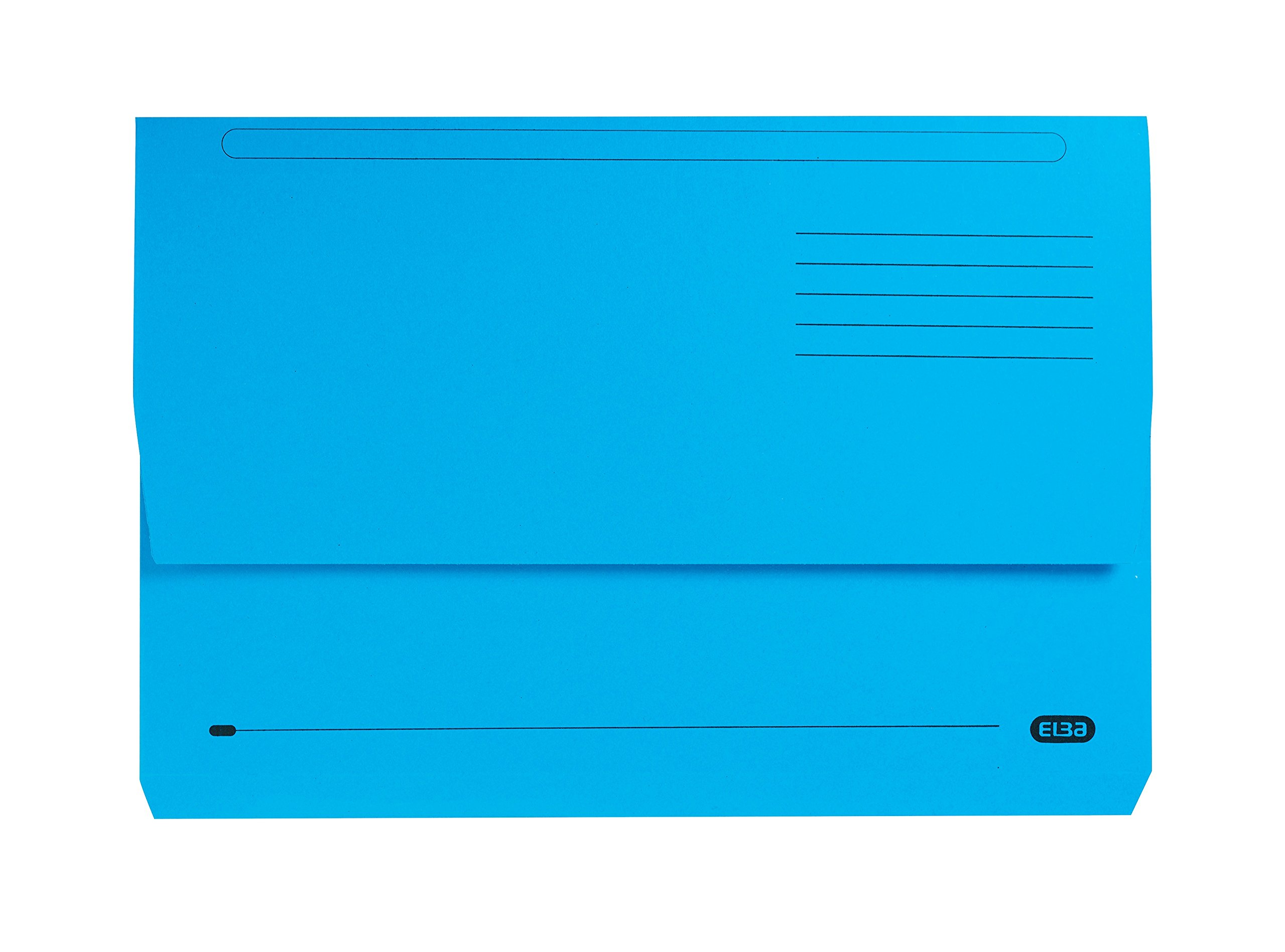 Elba Foolscap 32 mm Capacity Strongline Half-Depth Flap Document Wallet, 320 gsm Manilla, Blue, Pack of 25