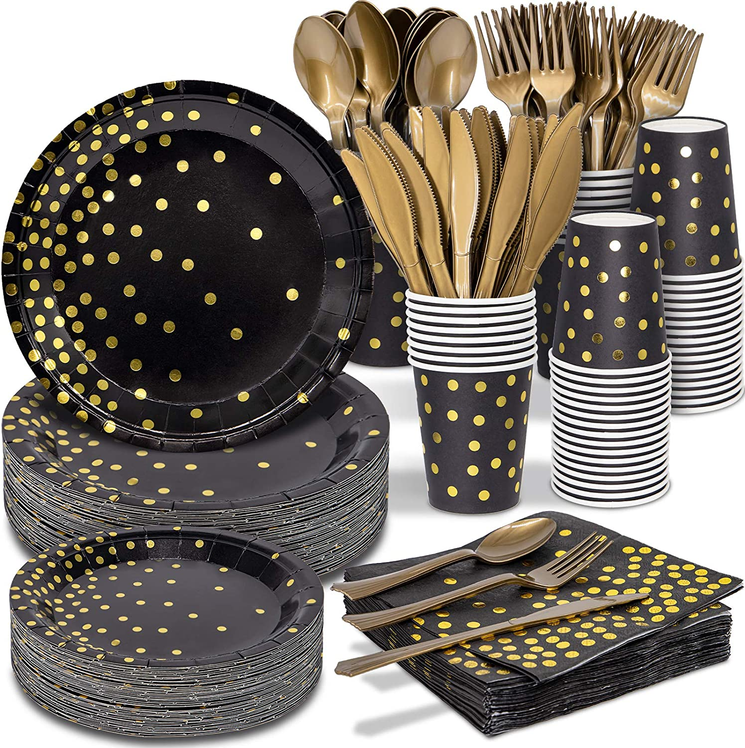 Black and Gold Party Supplies - 350 PCS Disposable Dinnerware Set - Black Paper Plates Napkins Cups, Gold Plastic Forks Knives Spoons for Birthday Christmas Halloween Thanksgiving New Years Eve Party