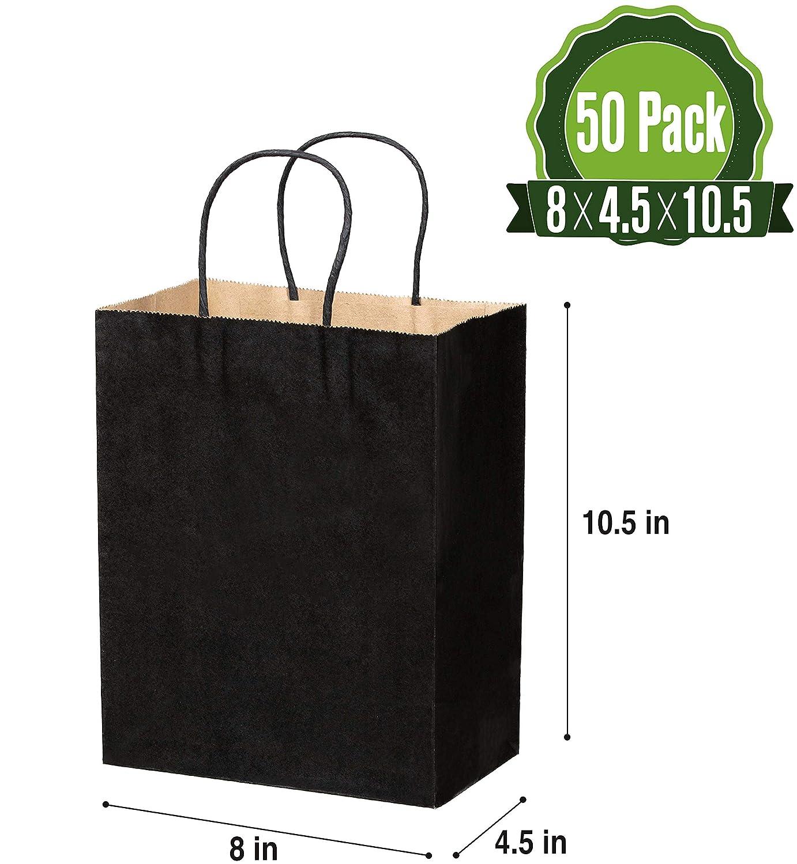 Amazon.com: Bolsas de papel kraft marrón con asas, 50 ...
