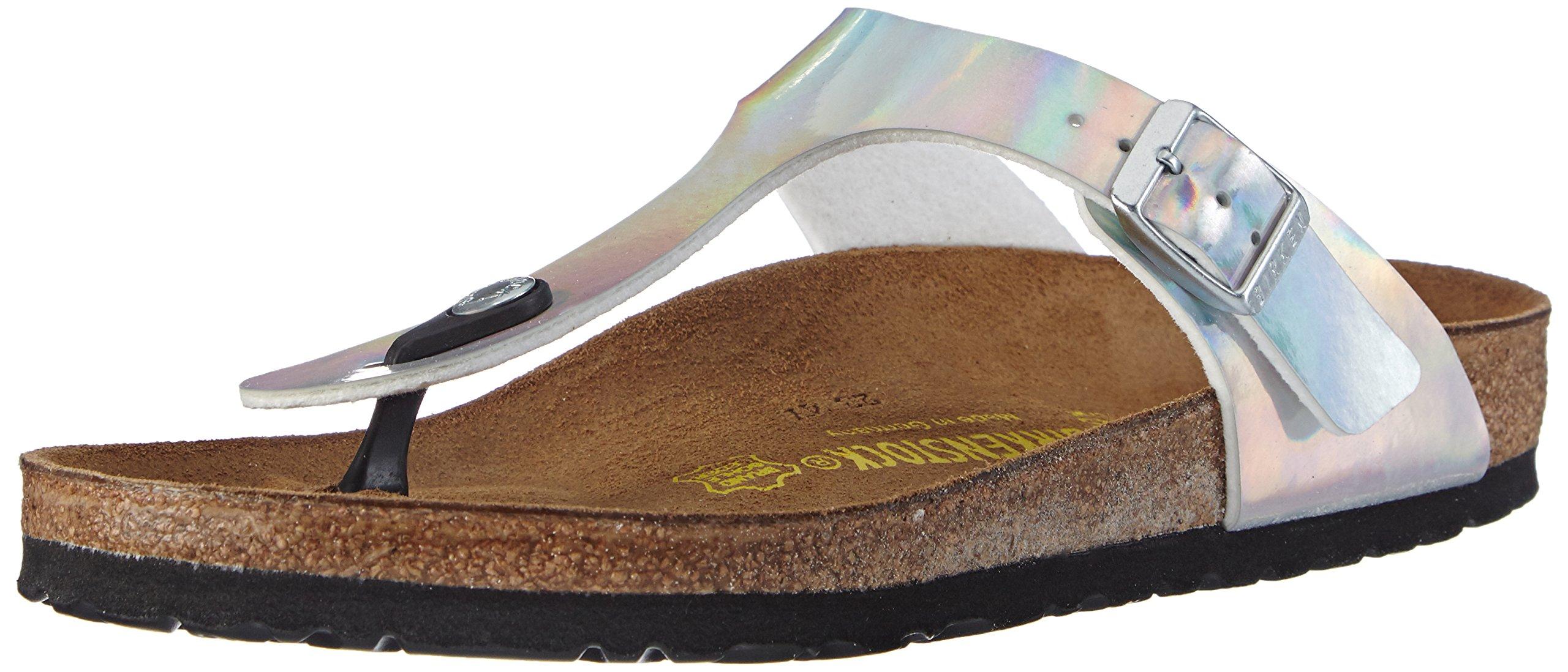 Birkenstock Classic Gizeh BirkoFlor - Buckled Toe Post Thong Style - Flip Flop Sandal UK4 - EU37 - US6 - AU5 Mirror Silver