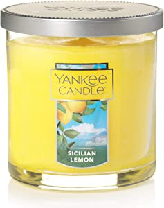 Yankee Candle Small Tumbler Jar Sicillian Lemon Scented Premium Paraffin Grade Candle Wax with up to 55 Hour Burn Time
