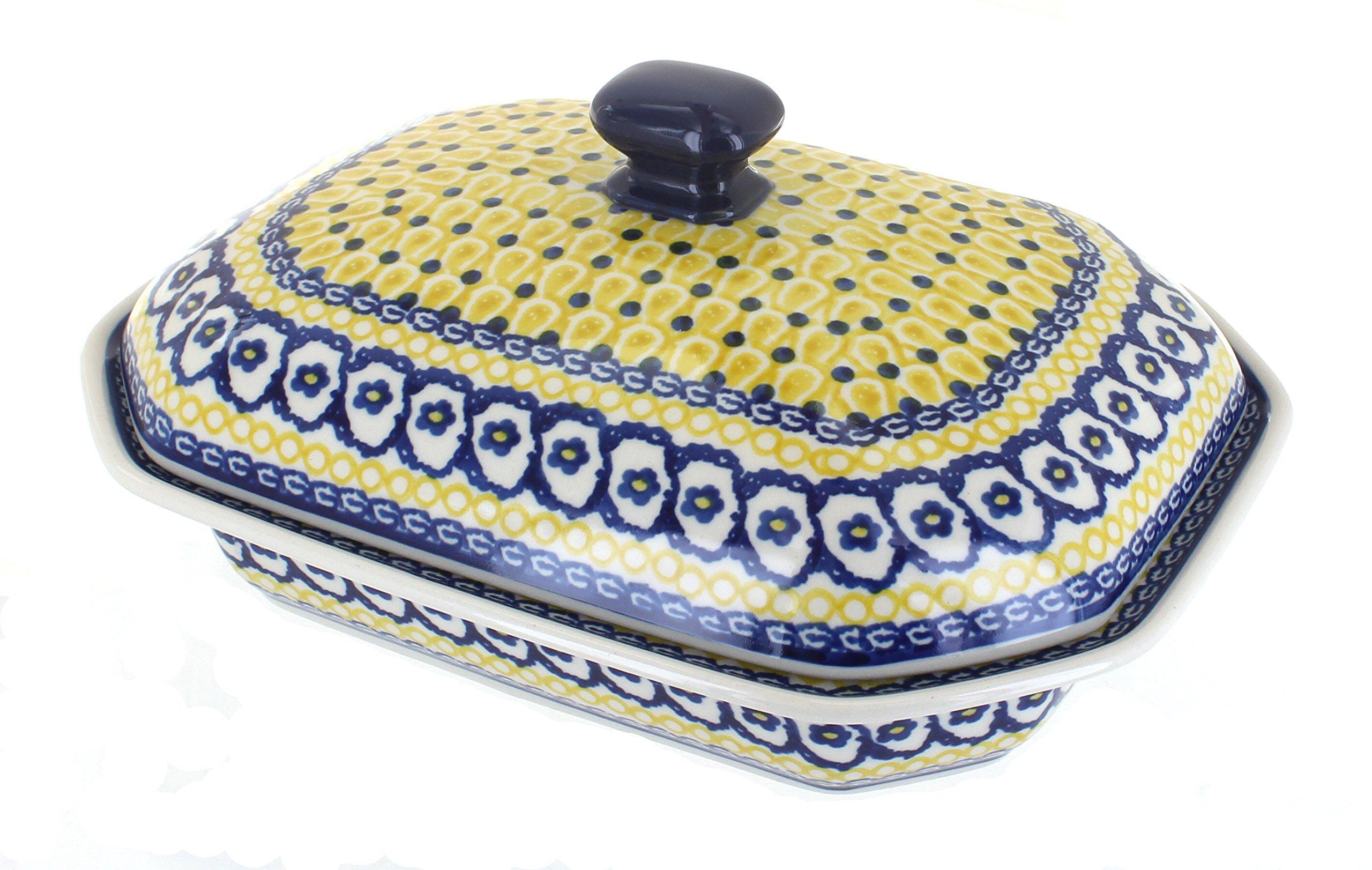 Polish Pottery Saffron Medium Covered Baking Dish