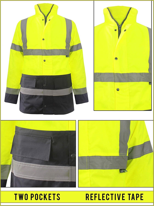 Love My Fashions/® Hombres Alta Visibilidad Chaqueta Impermeable Acolchada Invierno Calentar Causal Capucha Fluorescente Ropa de Trabajo Abrigo Plus Size