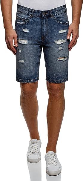 TALLA 40. oodji Ultra Hombre Pantalones Cortos Vaqueros con Agujeros