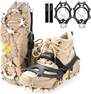 Sportneer Crampons Traction Ice Cleats, 19 Spikes Stainless Steel Anti-Slip Ice Snow Grips for Women, Kids, Men Shoes Boots, Safe Protect for Mountaineering, Climbing, Hiking, Walking, M, L, XL