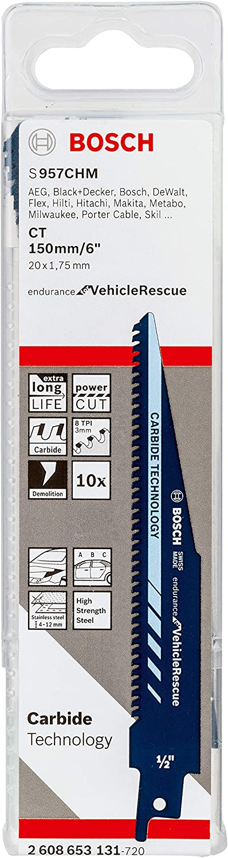 Bosch Professional S 957 CHM Endurance for Vehicle Rescue Hojas de Sierra Sable, Accesorios para Metal, 150 x 20 x 1.35 mm, Set de 10