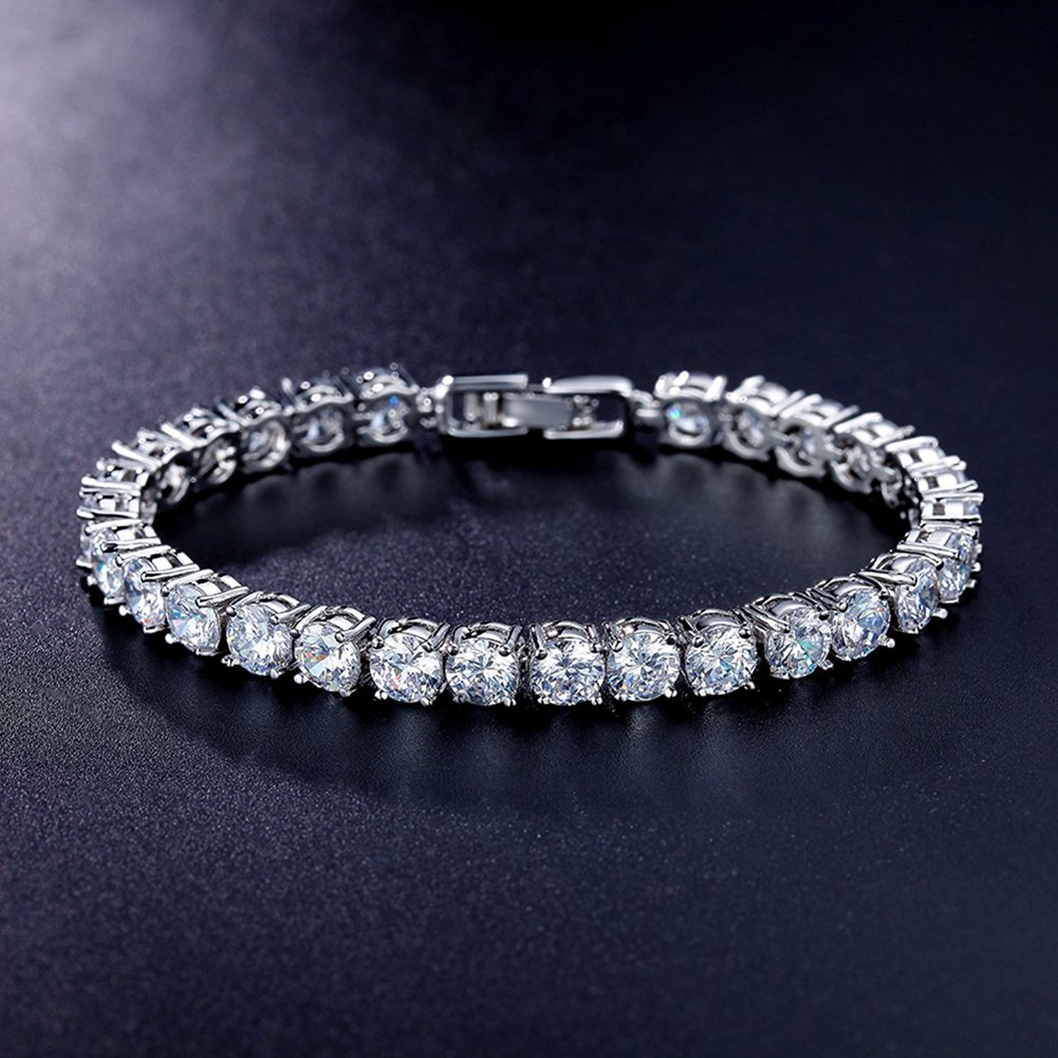Meetyoo Tennis Bracelet With Swarovski Elements Crystal Jewelry Women Lady Zirconia Platinum Plated Bangle for her by Meetyoo (Image #2)