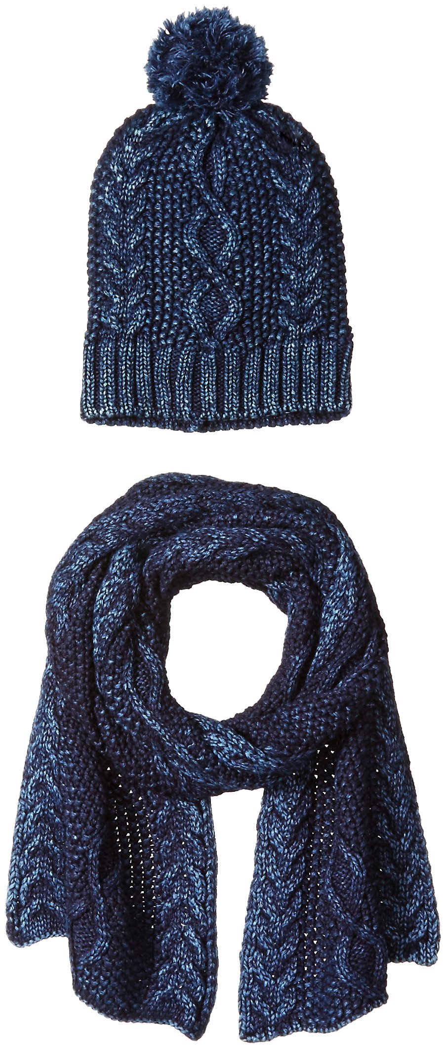 La Fiorentina Women's Cozy Gift Set with Cable Knit Beanie and Scarf, Denim, One Size